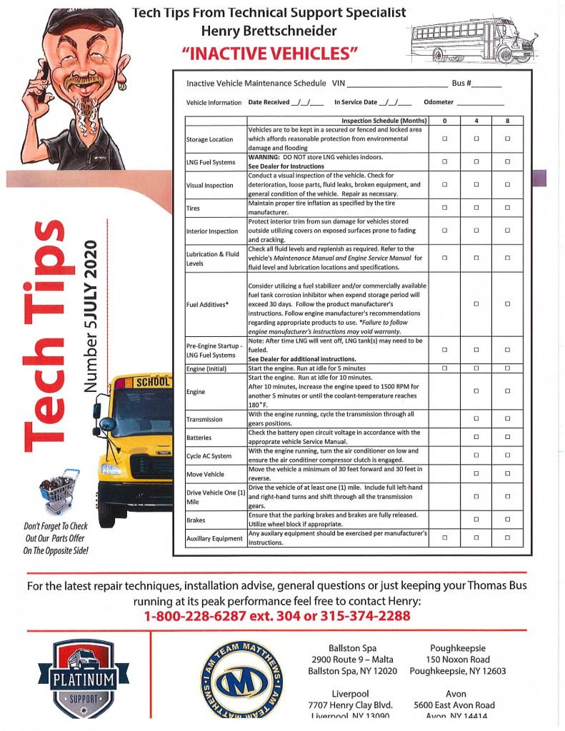 Bus Parts Flyer July 2
