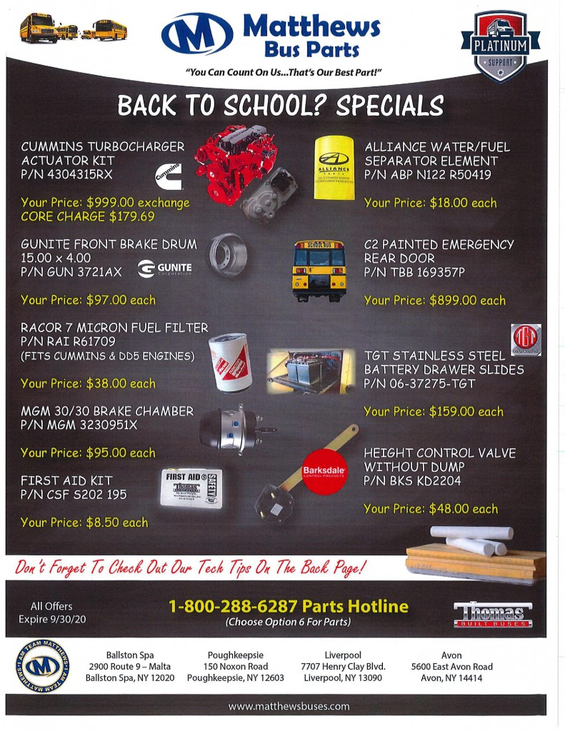 Back to School August Parts Flyer