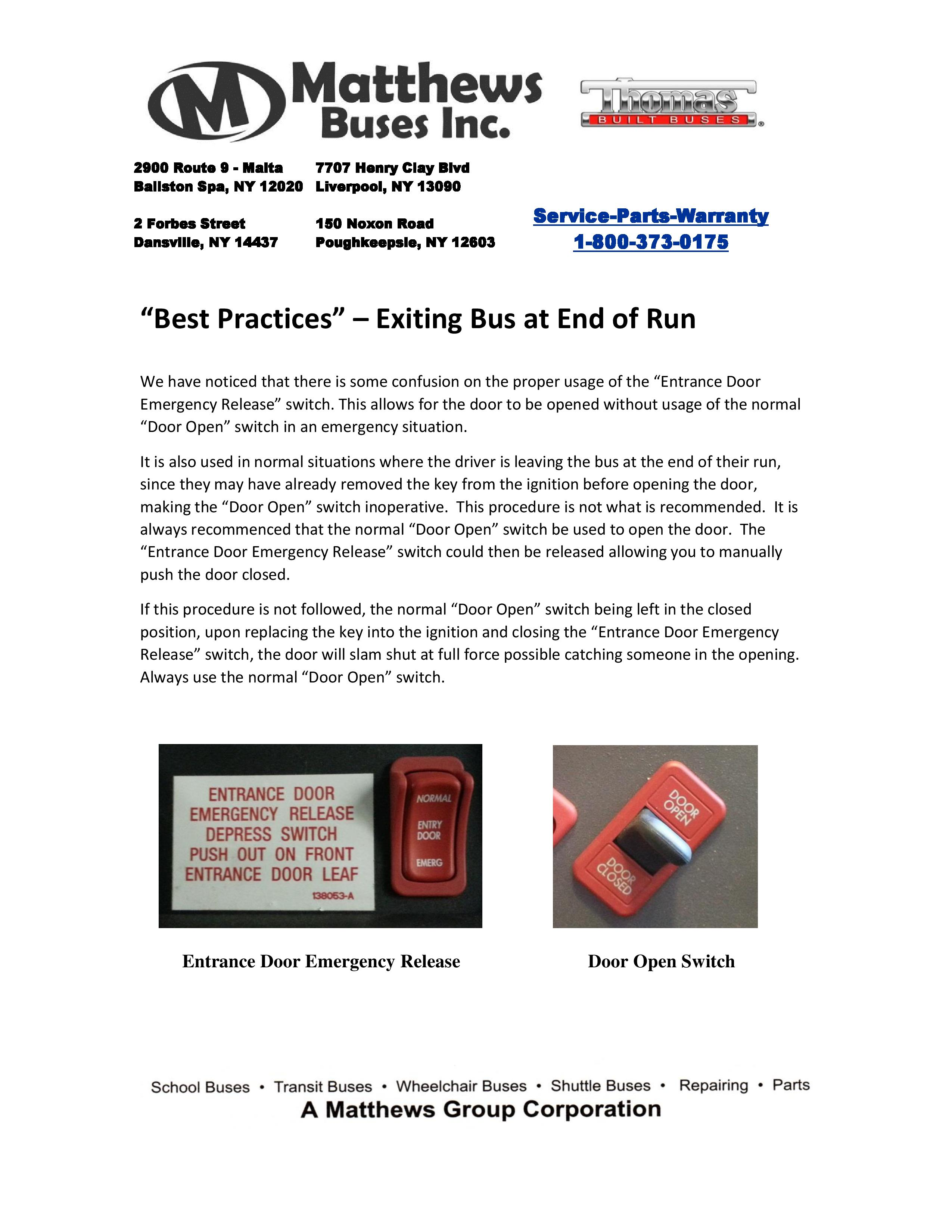 Matthews Buses Training Resources Bus Training Materials