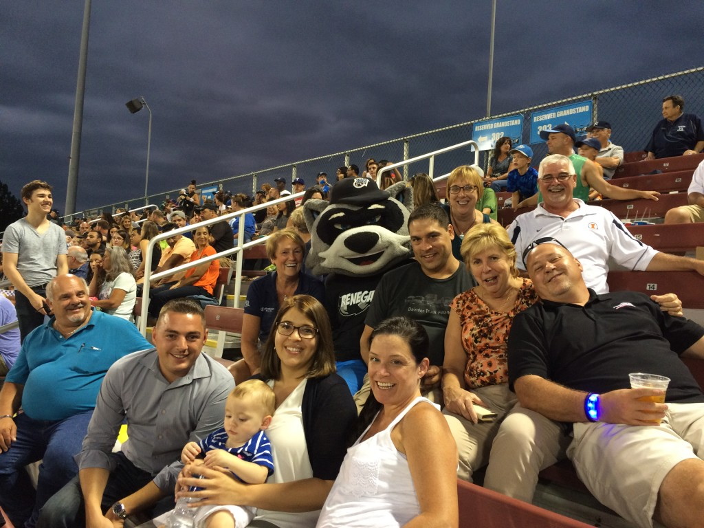 "Hudson Valley Renegades Mascot ""Rascal"" joined the NYAPT and Matthews group for part of the game."