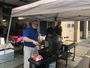 John Metzler at the grill for breakfast