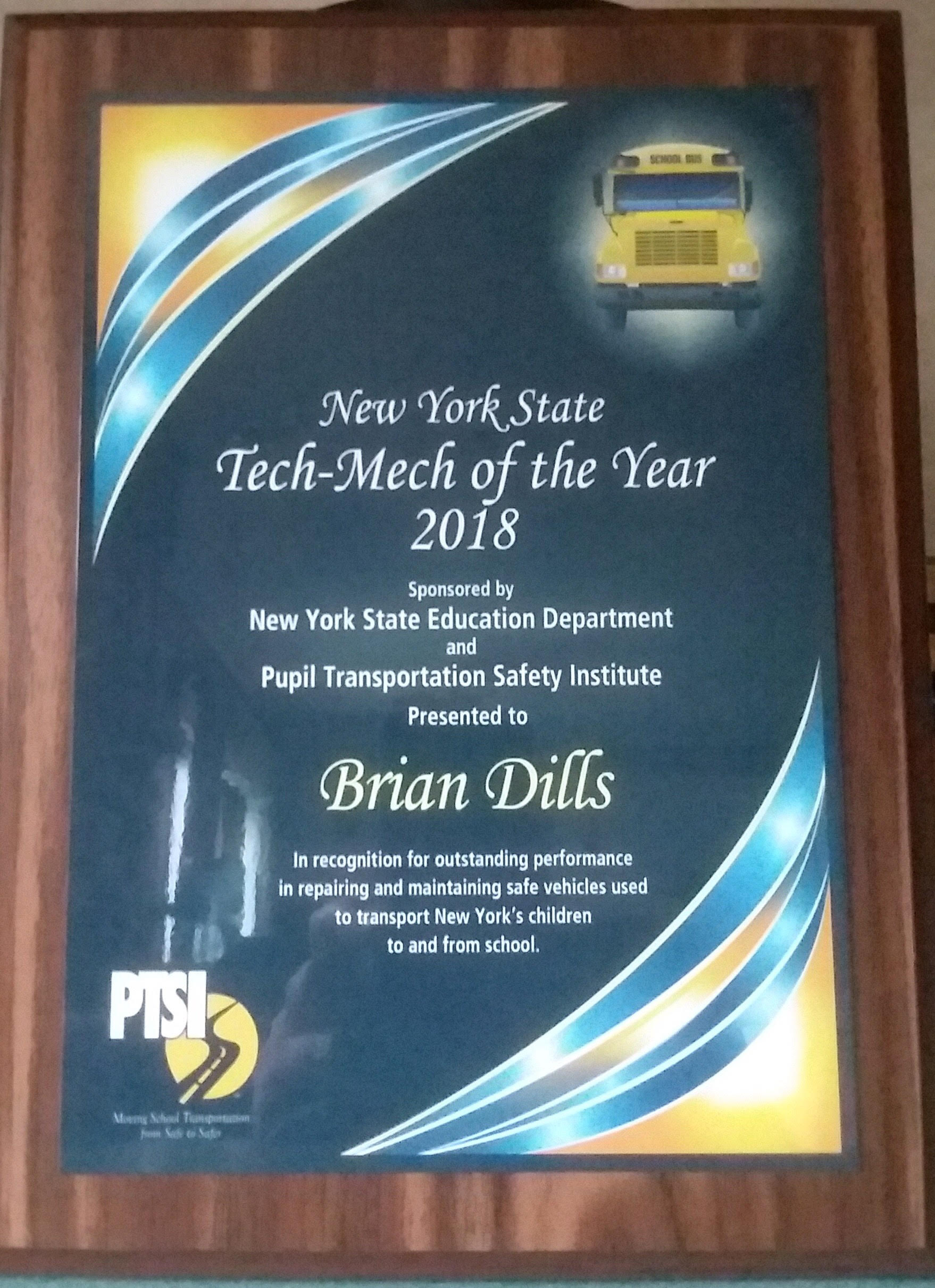 Brian Dills Named School Bus Technician Of The Year