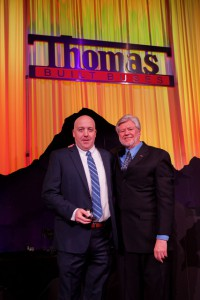 Salesman Aaron Morrow accepting award at 2019 Thomas Built Buses' Dealer Meeting