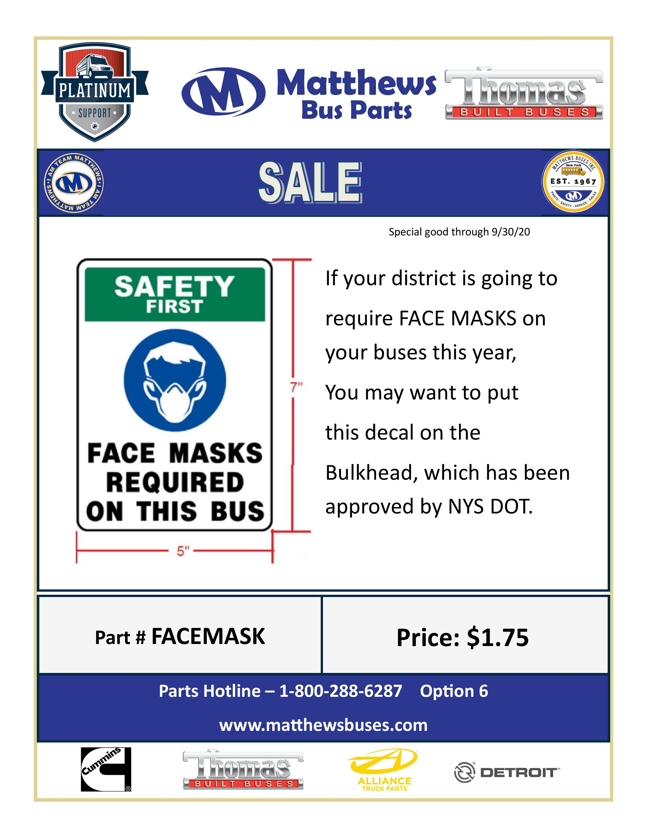 We Are Now Offering Face Mask Decals